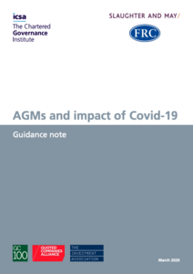 UPDATED: Guidance on holding AGMs under Coronavirus restrictions